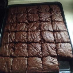 Egg-free Brownies Allrecipes.com/make it vegan with coconut oil! Decrease flour to 11/2 cups, decrease baking powder to 11/2 tsp, decrease sugar to 11/2 cup, 4 squares unsweetened chocolate instead of cocoa powder, add 1 cup mini chocolate chips before cooking.