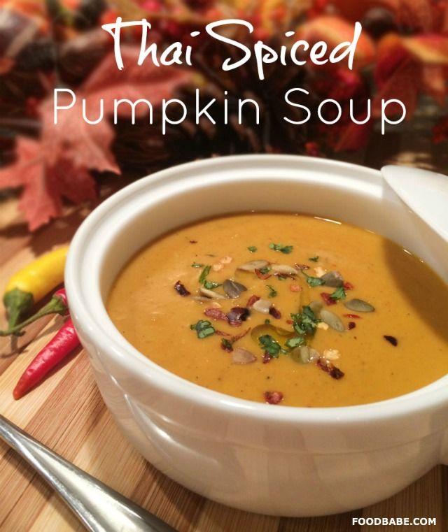 Healthy Thai Spiced Pumpkin Soup on http://foodbabe.com