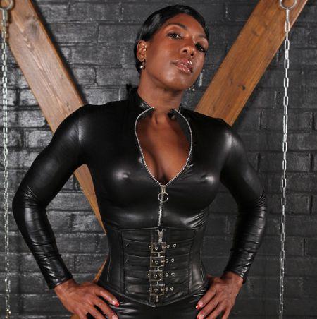 busty pornstar in black latex