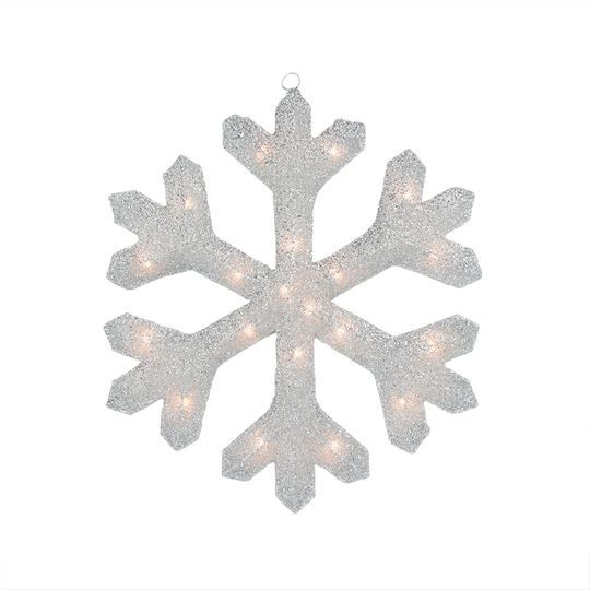"19.5"" Lighted Silver Tinsel Snowflake Christmas Yard Art/Window Decoration"