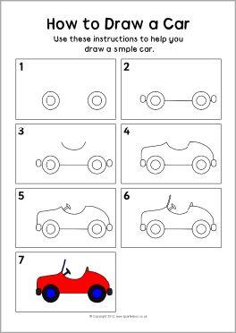 How to draw a car instruction sheet (SB8224) - SparkleBox