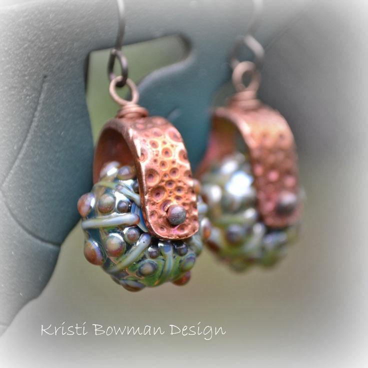 Kristi Bowman Design: Copper Sea Urchin Earring/Bead Bails on Etsy #earrings #sea urchin