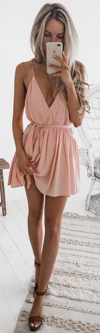 #winter #outfits pink spaghetti strap plunging neckline mini dress