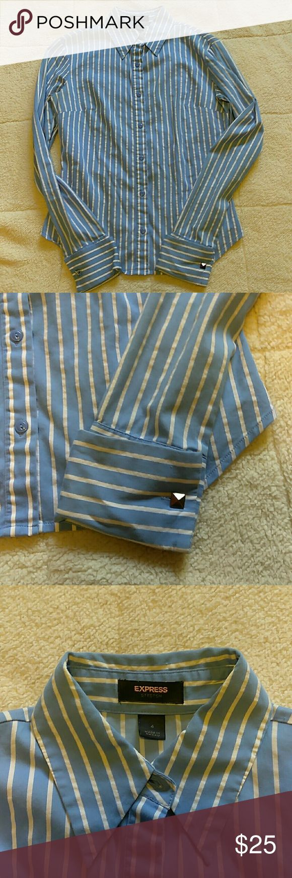 Express pinstripe button up with stud cufflinks EUC, blue with white pinstripe and the cuffs have silver stud cufflinks, brand is express stretch, reasonable offers considered, NO TRADES Express Tops Button Down Shirts