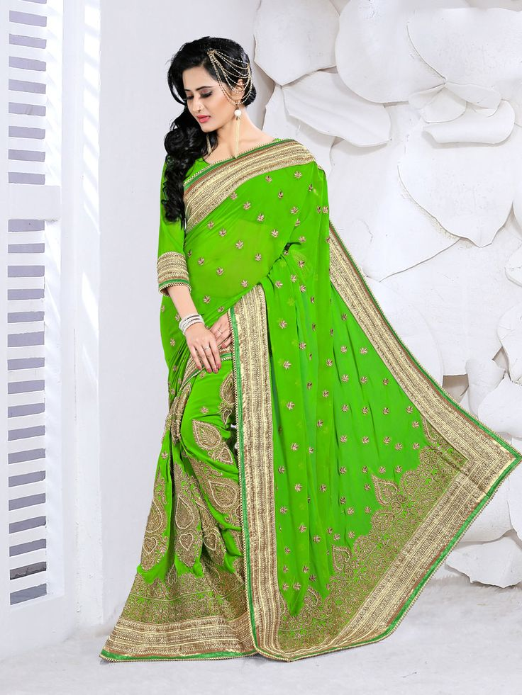 Green Georgette Wedding Saree 63463  #WeddingSarees #OnlineShopping