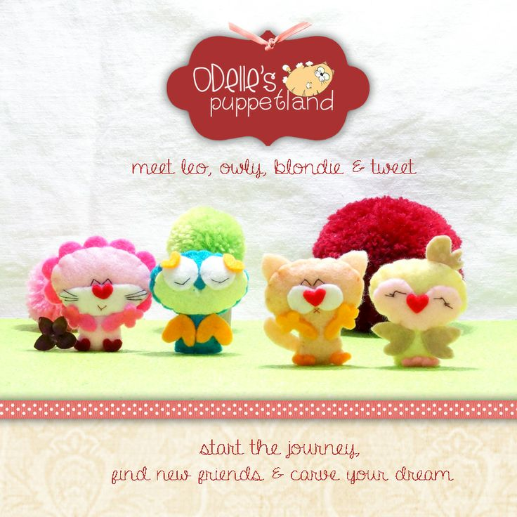 LEO, OWLY, BLONDIE  TWEET are 4 of the 50 cute characters in odelle's puppetland. Each character here, is available for the finger puppet, pencil puppet  mini puppet. Get them for only rp7.000/each. Contact me: http://odellespuppetland.blogspot.com sms/wa : 0896 420 97 266 ping me! 7448EE1E  #fingerpuppet # puppet #odellespuppetland #handmade #craft  #felt  #bonekajari #lion #owl #cat #bird #baby #kids #edutoys