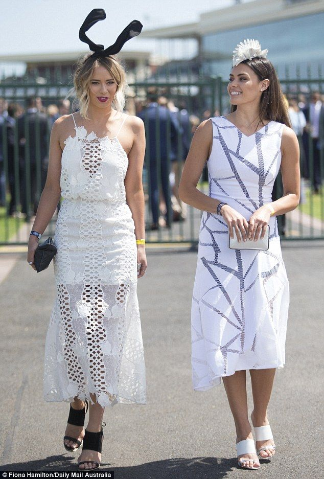 Tully Smyth (left) and Monika Clarke (right) looking stunning in white at the Caulfield Cu...