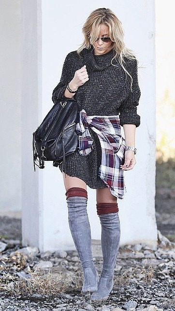 Plaid With Over-the-Knee Boots