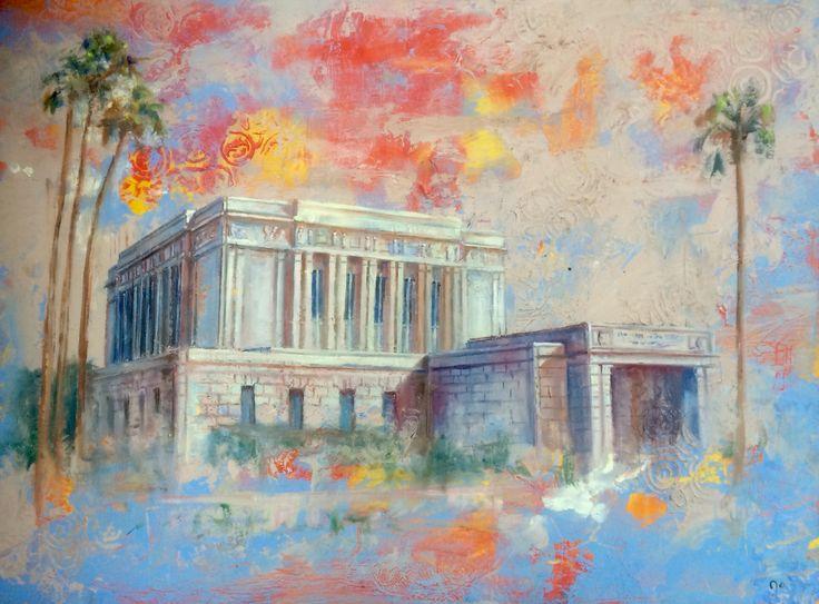 Mesa Arizona Temple. Oil and Cold Wax. Prints at Etsy: LDSTemplesbyJolynn