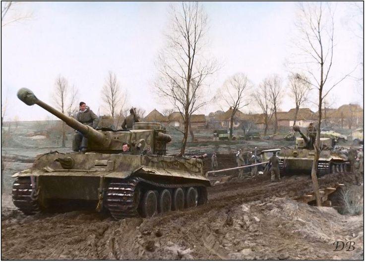 "Panzerkampfwagen VI 'Tigers' of 1./SS Pz.Div. ""Leibstandarte Adolf Hitler"" in Vinnitsa, Ukraine. November 1943."