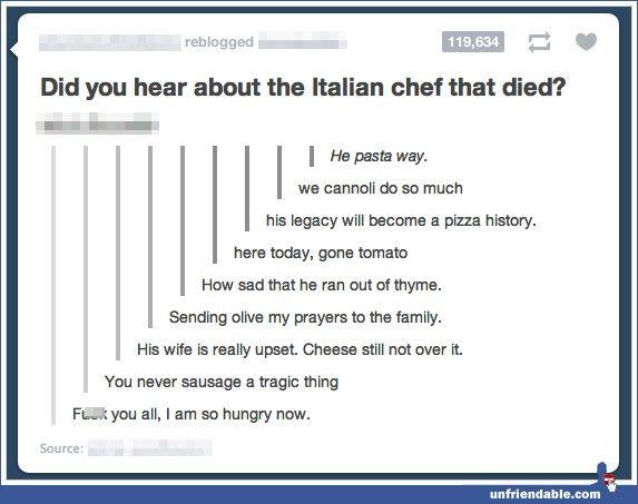 Really Funny Jokes Tumblr Italian chef - ...