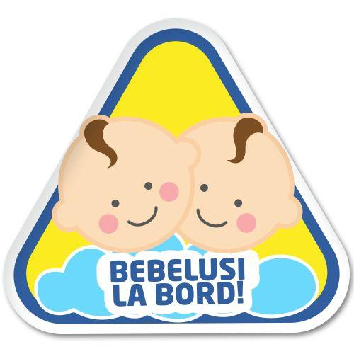 Autocolant auto Bebelusi la bord (baieti)    Autocolant (sticker) auto ce reprezinta bebelusi gemeni baieti cu mesajul Bebelusi la bord.   Alegeti dimensiunea dorita: 12x 13 cm sau 18 x 20 cm.