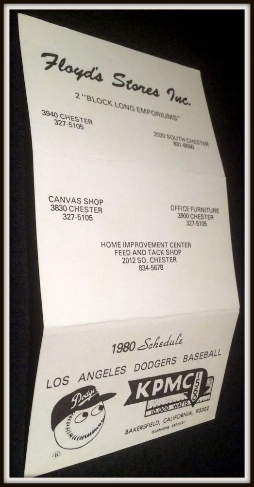 1980 LOS ANGELES DODGERS FLOYDS STORES BASEBALL POCKET SCHEDULE FREE SHIPPING #Pocket #PocketSchedules