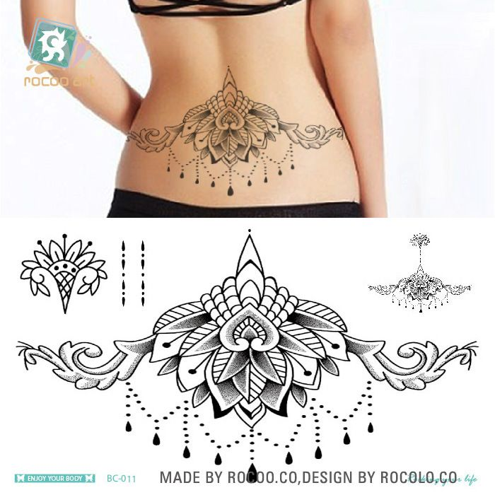 Waterproof Temporary Tattoo sticker large size lotus totem on waist breast back Water Transfer women's fake tattoo flash tattoo