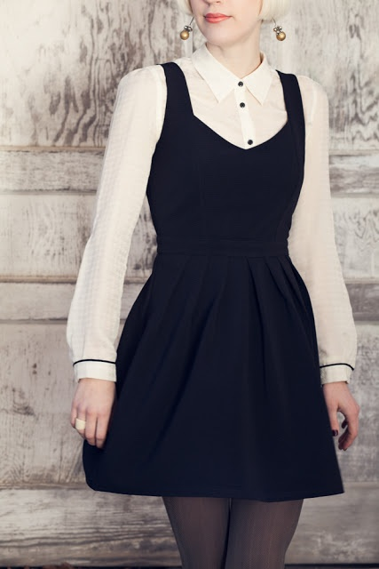 black summer dress w/ white button-up & tights for cold weather style