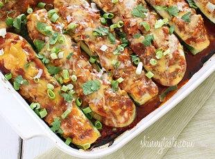 Chicken Enchilada Stuffed Zucchini Boats | Recipe