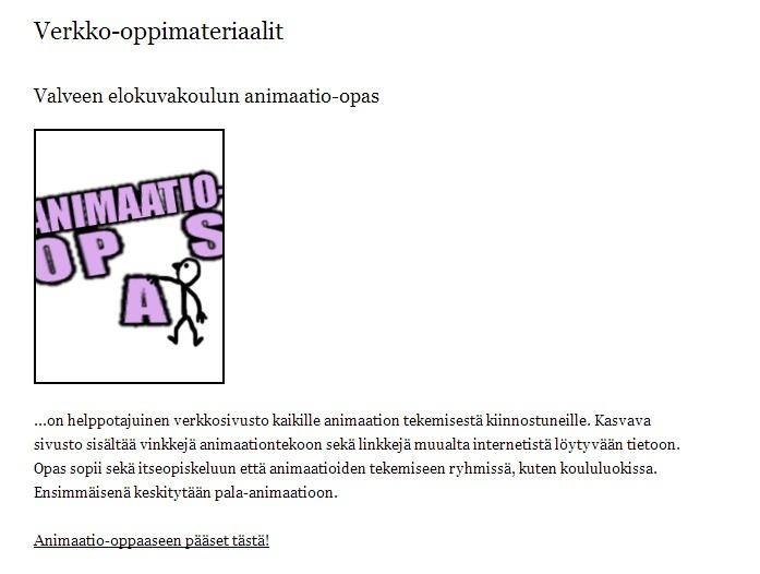ANIMAATIO-opas kaikille kiinnostuneille!