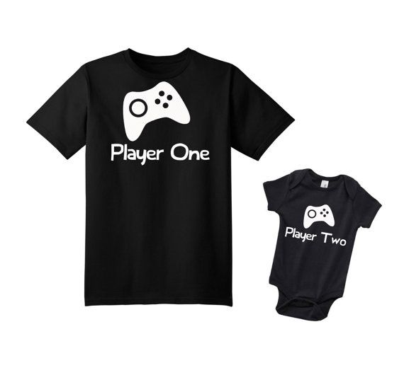 Video Game Player One Player Two Set, New Dad Gift, New Dad Shirt, Dad and Baby Shirts