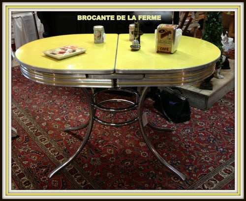 Rare et authentique table en formica et inox americaine for Table de cuisine des annees 50