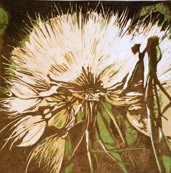 Dandelion square linocut original by lisahope on Etsy, $85.00