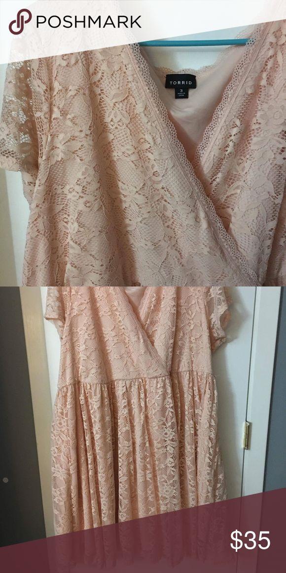 3x Torrid light pink peach lace dress Very light pink lace Torrid dress never worn torrid Dresses Mini