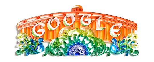 "Google celebrates ""India's Independence Day"" with a Doodle on the occasion of the completion of 70 years after attaining Independence of India."