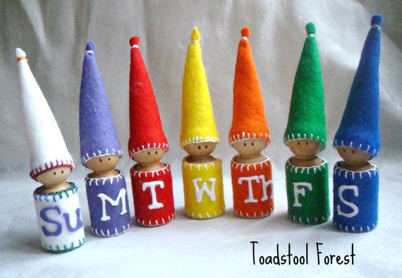 Waldorf Days of the Week Peg Gnomes Set of 7 by TheToadstoolForest, $56.00