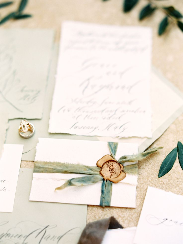 Sage wedding invitation suite: Event Styling: Weddings by Silke - http://www.weddingsbysilke.de/ Hotel: Relais La Corte Dei Papi - http://www.lacortedeipapi.com Stationary: Seniman Calligraphy - http://senimancalligraphy.com   Read More on SMP: http://www.stylemepretty.com/destination-weddings/2017/06/16/inspiration-for-a-tuscany-destination-wedding/