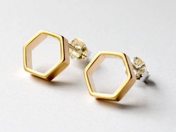 SALE  SECONDS SALE  Simple Gold Hexagon Earring by HookAndMatter, $20.00