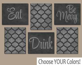 EAT DRINK be Merry CANVAS or Prints Teal Kitchen Wall by TRMdesign