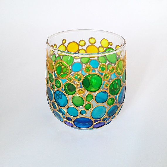 Yellow Green Blue Bubbles Glass Candle Holder Tealight by ArtMasha