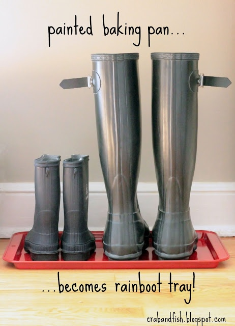 Spray paint a baking pan to use as a rain boot tray