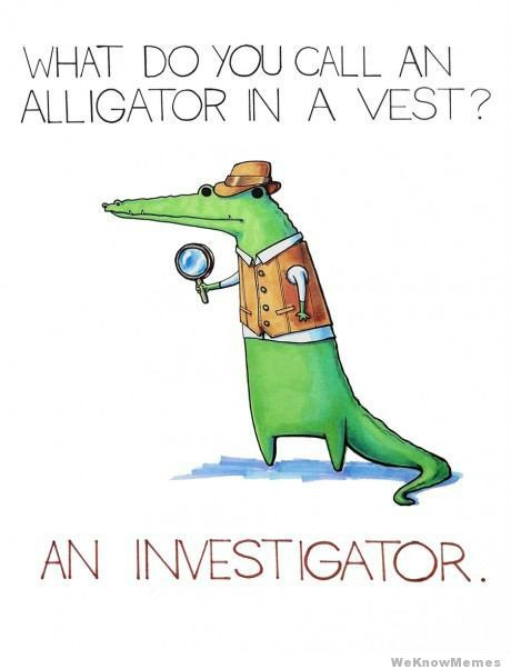 What do you call an alligator in a vest? An investigator!