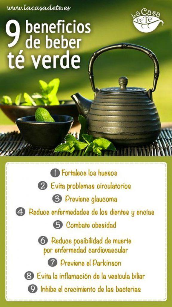 Infografía de los 9 beneficios de beber té verde  ¿Consideras que es útil o interesante esta infografía? ¡COMPÁRTELA!