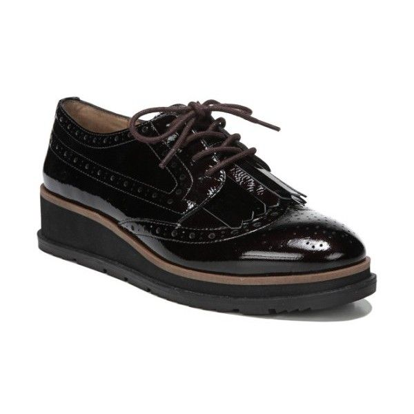 Women's Sarto By Franco Sarto Autumn Oxford (8.315 RUB) ❤ liked on Polyvore featuring shoes, oxfords, dark burgundy patent, brogue oxford, wingtip oxford shoes, wedge oxfords, franco sarto oxfords and oxford brogues