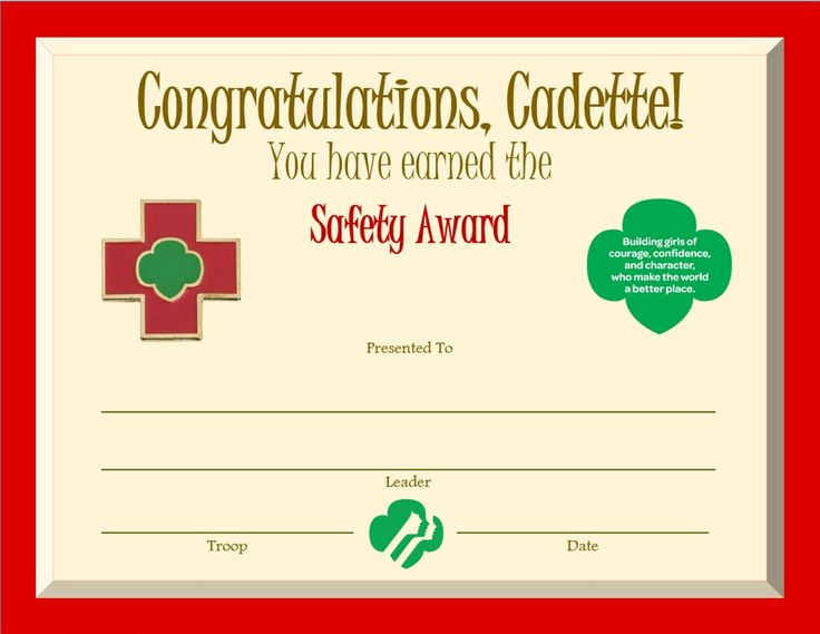 Cadette safety award certificate cadette girl scouts for Girl scout award certificate templates