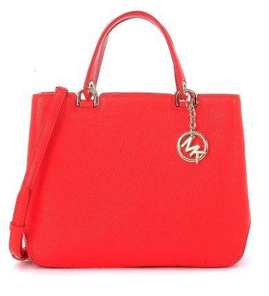 MICHAEL KORS Borsa A Mano Michael Kors Anabelle In Pelle Martellata Rosso Corallo. #michaelkors #bags #charm #accessory
