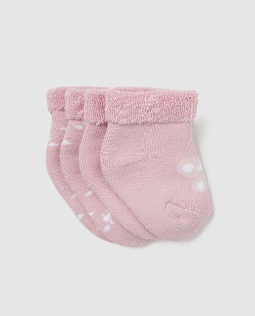 Pack de 2 calcetines de rizo estampados con dibujo y rayas, en color rosa.