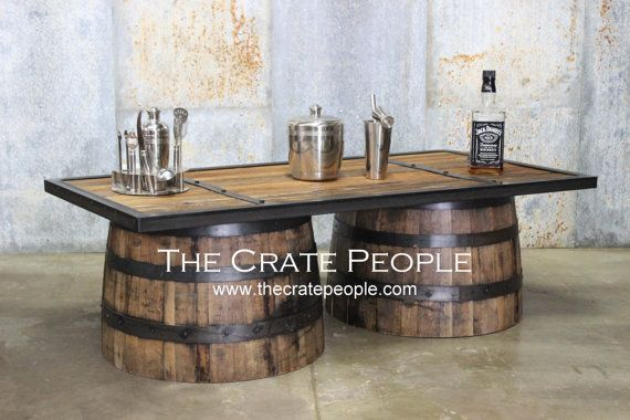 Whiskey Barrel Coffee Table  Barrel Made by TheCratePeople on Etsy