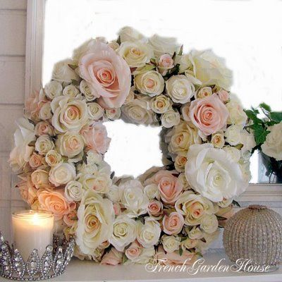 Wreath of RosesThe Doors, Shabby Chic, Candles Holders, Barns Doors, Gardens House, Rose Wreaths, Silk Flower, Floral Wreaths, Beautiful Wreaths