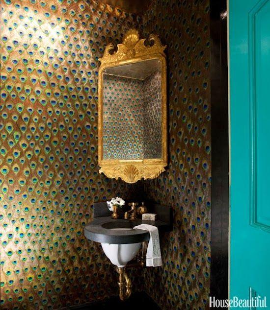 Peacock wallpaper powder room bathrooms pinterest for Peacock bathroom ideas