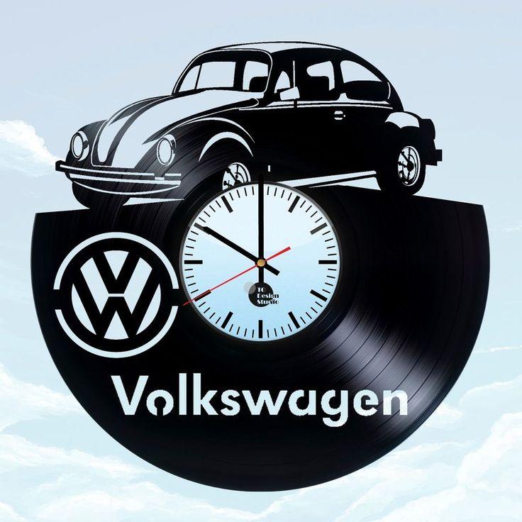 Volkswagen Beetle unique vinyl record wall clock fan gift home decor room art