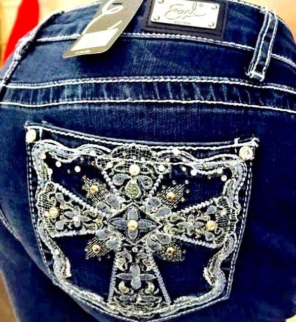 9c8edf6df2b EARL JEANS Embellished Rhinestone Celtic Cross Pockets Straight Leg NEW