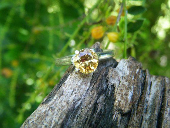 Citrine gemstone ring sterling silver citrine by ExquisiteGem