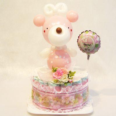 かわいい動物のバルーンドール付きおむつケーキです☆【バリエーション】miniドール:パンダさん/うさぎさん/くまさん/おサルさん/ぞうさん/さくらちゃん【内容】パンパース Mサイズ テープタイプ17枚…