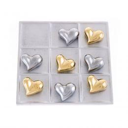 Modern Metal Handmade Decor Tic Tac Toe Board Game, Love Heart Design, Silver & Gold