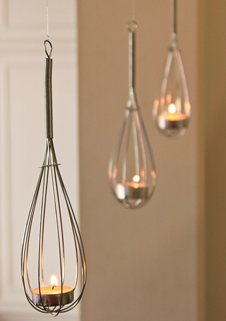 DIY: Tea Lights in Whisks. Sweet idea.