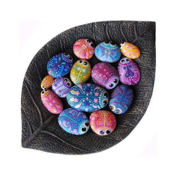 Hand Painted Rocks - A Bowl Full of Bug Rocks - Interactive Art Piece - Cute Lil Buggers by Coolisart