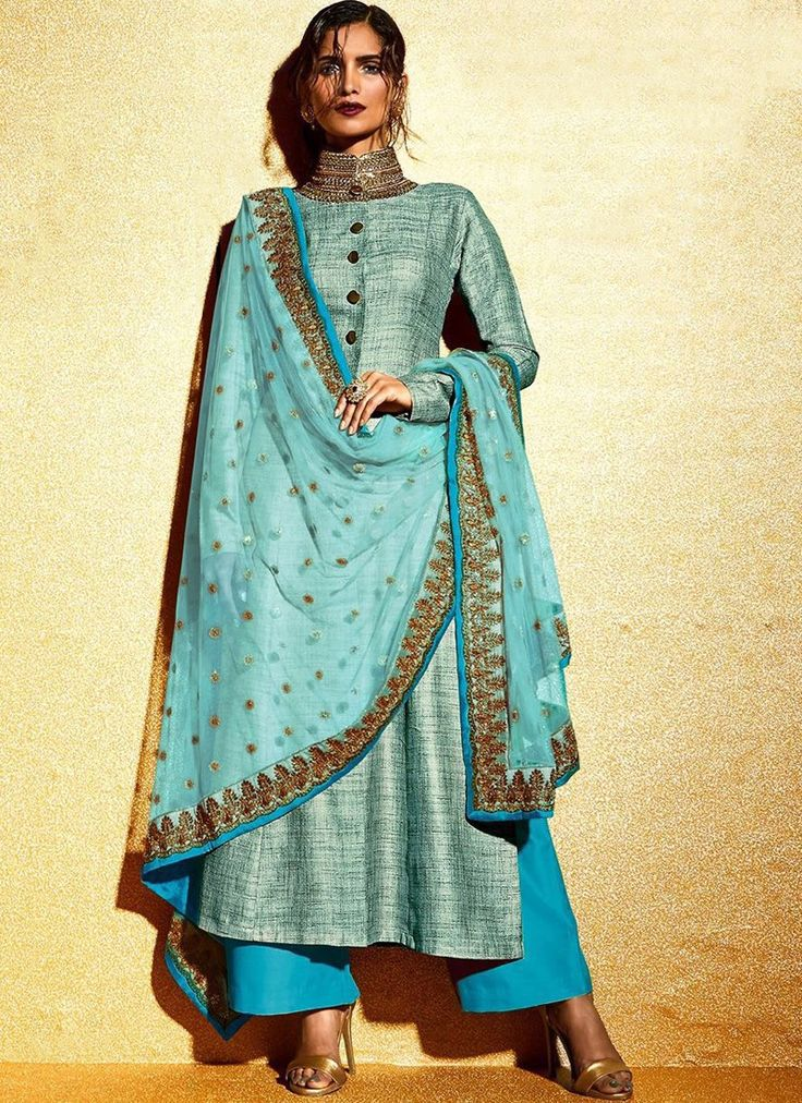 Blue Embroidered Khadi Palazzo Suit