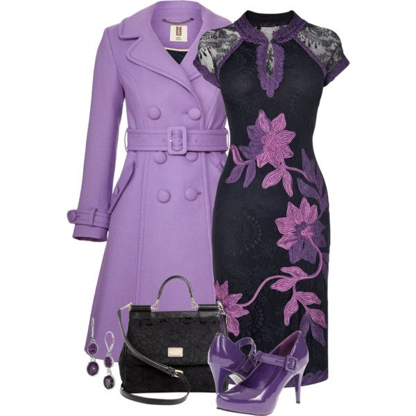 A fashion look from September 2013 featuring transparent dress, purple trench coat and mary jane shoes. Browse and shop related looks.